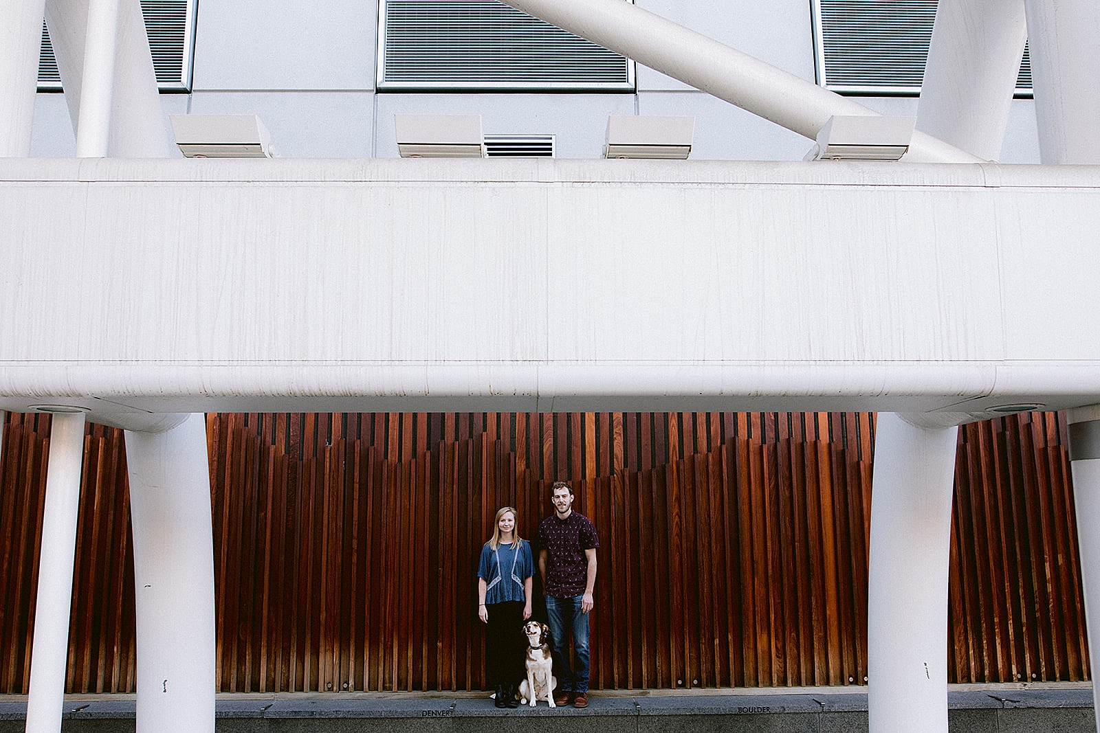 Couple with dog Downtown Denver Engagement Photos by Matthew Speck