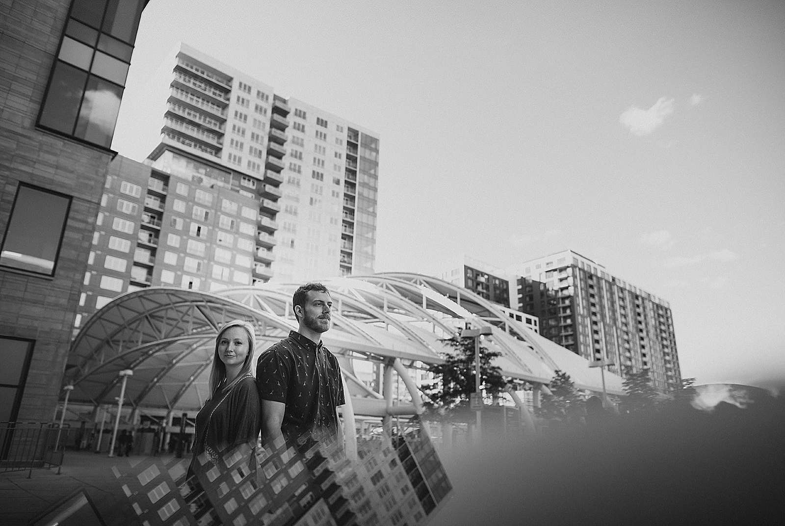 Artistic couples image reflections Downtown Denver Engagement Photos by Matthew Speck